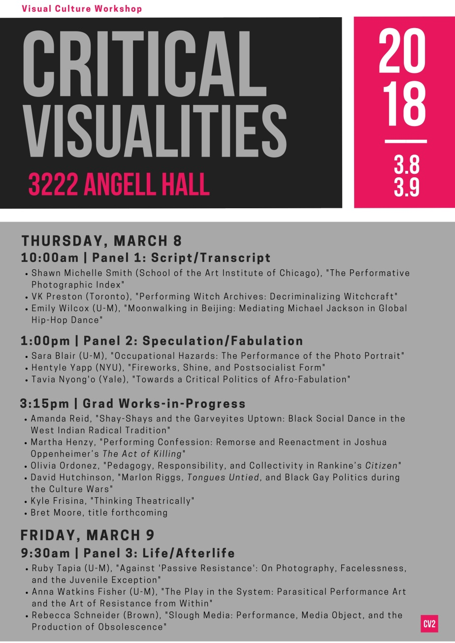Critical Visualities schedule 2018